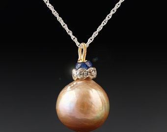 Something Blue - The Prettiest Pearl Necklace with a Kasumi Pearl, Blue Sapphire, and Antique Rhinestone Accent