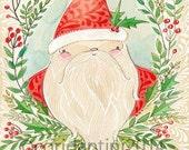 Santa Claus, Christmas folk art painting, I love christmas, Blend fabrics, 8 x 10 folk art limited edition archival print by cori dantini