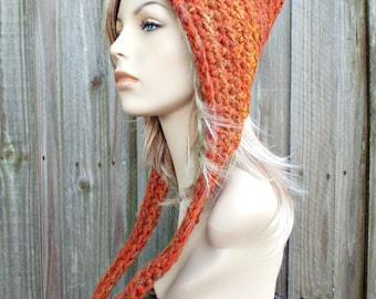 Crocheted Hat Womens Hat - Oversized Crocheted Pixie Hat in Burnt Orange Rust - Orange Hat Orange Pixie Hat Womens Accessories Winter Hat