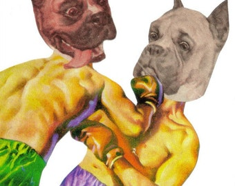 Sports Art, Boxer Dog Artwork, Boxing Art, Boxer Gift for Sports Fan, Man Cave Wall Decor, Original Collage Art on Paper, Funny Dog Fight
