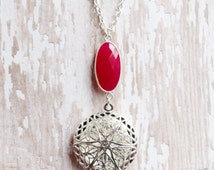 Faceted Hot Pink Chalcedony Essential Oil Diffuser Necklace Diffuser Locket Silver Diffuser