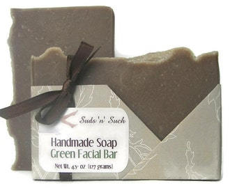Facial Soap - Green Facial Bar - Handmade Soap with Tea Tree Essential Oil , Green Tea , and French Green Clay - Vegan Soap - Face Soap