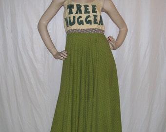 Tree Hugger Dress Hippie Apron Sundress OOAK Upcycled Cotton Full Skirt Halter Tie Gypsy Earth Day Festival Green Sundress Adult S M