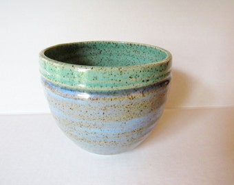 Small serving bowl, ready to ship, handmade pottery, speckled mint and ice blue