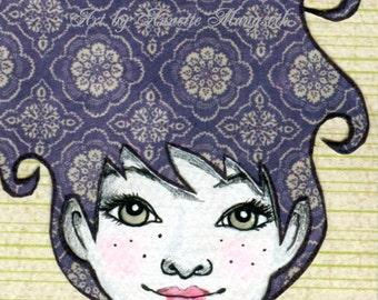 Penny- Original ACEO illustration - Miniature art card - Drawing , Mixed media original girl with purple hair