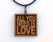 THE BEATLES -  All You Need Is Love - Lyric Jewelry - Custom Lyric Available - Anniversary Gift Idea
