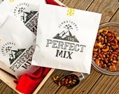 Trail Mix  Wedding Favor Bags - The Perfect Mix - White Wax Lined Favor Bag - Mountain Lovers - 20 White Favor Bags included