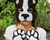 Dog Costume Set - Dog Mask - Boston Terrier Costume - Dog Paws - Boston Terrier Mask - Halloween - Child Size