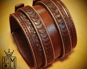 Leather Wrist Cuff Brown Traditional American Cowboy Rockstar Bracelet made for YOU in NYC by Freddie Matara