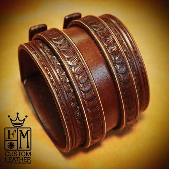Leather Wrist Cuff Brown Traditional American Cowboy Rockstar Bracelet made for YOU in USA by Freddie Matara