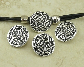 3 TierraCast Bamboo Leaf Buttons > Tropical Natural Ornate Leaves - Silver Plated LEAD FREE Pewter I ship Internationally 6569
