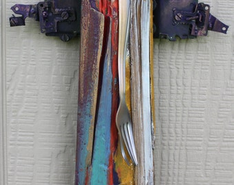 "Angel - Recycled Artwork ""Angel Bent Fork"" - Mixed Media Sculpture"