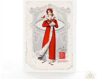 Jane Austen, Christmas card, Regency card, lady in red, holiday card, robin, French Christmas, card for her, Paris, vintage Christmas