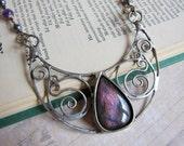Lunula I -Magical Purple Labradorite Crescent Moon Necklace