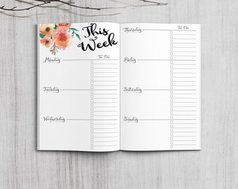 Printable Weekly Planner, Pocket Size Weekly Planner, Printable Field Note weekly planner inserts, PDF file