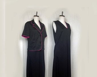 Vintage Jacket Dress, 1960s, Navy, Sleeveless Dress, Short Sleeve Jacket, V Neck, Polyester, Knee Length, Medium