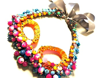 Rainbow pathways, One of a kind Couture Necklace by Monikque
