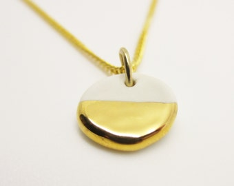 Metallic Gold Half Dipped Circle Necklace Glazed Ceramic Porcelain on an 18 inch Gold Chain
