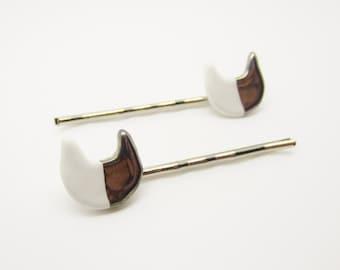 Metallic Silver Half Dipped Cat Hair Pin Set of 2 Glazed Ceramic Porcelain