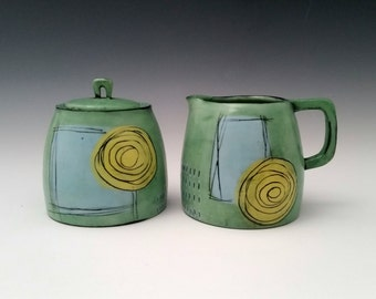 Ceramic Creamer and Sugar Set, Modern Cream and Sugar, Pottery Set