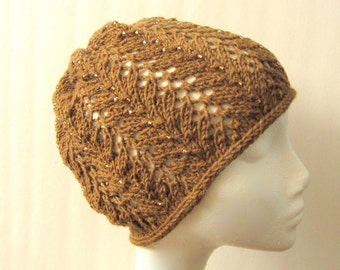 Women Wool Lace Knit Hat with Beads - Vines Lace Beanie Hat with Beads - Made to Order