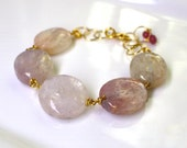 Gem Pink Kunzite Polished Large Gem Bracelet, Linked in 22kg vermeil...