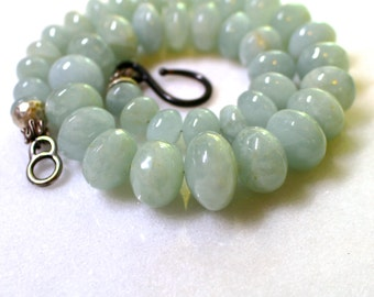 Beautiful Blue Green Aquamarine Polished Bold Focal Necklace in Silver...