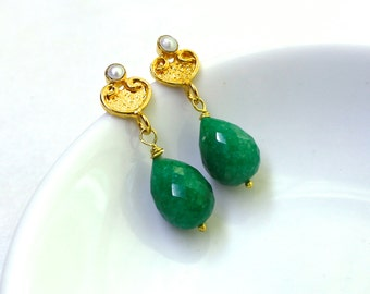 Radiant Green Emerald Plump Briolette Drop Post Back Earring in Gold Vermeil....