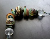 "Lampwork glass bead set handmade jewelry making supply by Lori Lochner ""celadon southwest rustic hollow"""