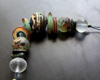 "Lampwork glass bead set handmade jewelry making supply by Lori Lochner ""celadon southwest rustic hollow"""