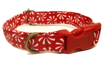 Peppermint Patty - Red Peppermint Candy Christmas Xmas Organic Cotton CAT Collar Breakaway Safety - All Antique Brass Hardware