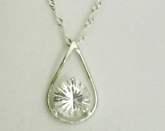 10mm Diamond Quartz Gemstone in 925 Sterling Silver Pendant Necklace