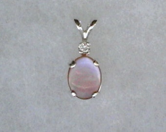 9x7mm Pink Mother of Pearl with 2mm White Topaz Gemstone Accent in 925 Sterling Silver Pendant Necklace
