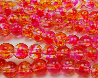 60 Hot Pink and Yellow Glass Beads 6MM round beads (H2090)