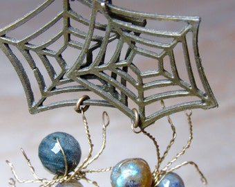 Along Came a Spider - Labradorite Wire Wrapped Gemstone Earrings