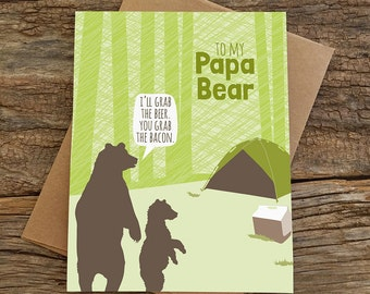 funny father's day card / birthday card for dad / papa bear