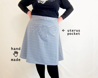 Uterus Skirt -- navy white check vintage knit poly fabric -- plus size, size 24, 26W, 3X, xxxl -- Feminist Fashion -- 46W-61H