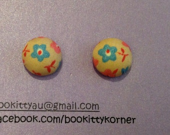 Pale Peach Floral Fabric Button Stud Earrings with Stainless Steel Findings