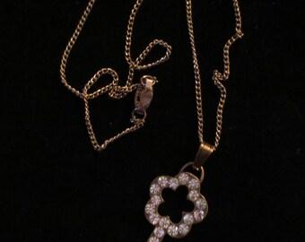 Rhinestone Skeleton Key Pendant Necklace Steampunk Gothic