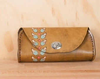 Small Leather Clutch - Handmade Petal purse with modern floral pattern in antique brown - Leather Purse, Clutch, Wristlet, or Waist Bag