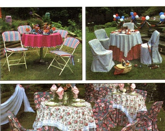 Simplicity 9136 Folding Chair Covers, Tableclths and Napkins GARDEN PARTY ACCESSORIES ©1989