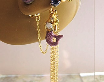 Purple Mermaid With Seashell Ear Cuff And Rose Stud Earring Ear Wrap Flower Gold Fantasy Sea Ocean Feminine Elegant Glamorous