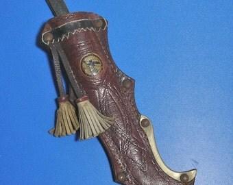 Vintage Swedish Leather Knife Sheath with Tassels