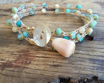 Summer Bracelet, Beach Bracelet, Bracelet Wrap, Stacking Bracelet, Beachy Jewelry, Crocheted Bracelet, Hawaii Shell Jewelry, Surfer Girl