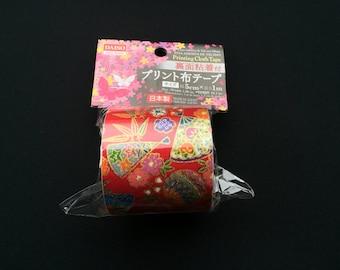Japanese Fabric Tape -  Red Tape - Japanese Tape - Plum  Blossom Tape - Temari Balls  - Fans