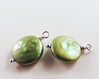 Green Coin Pearl Earrings, June Birthstone, Bridesmaid Gift, Interchangeable, Women's Jewelry, Gift for Her, Birthday Gift, Party Earrings