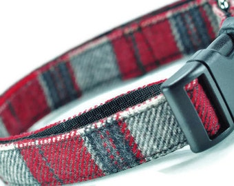 Grey And Red Plaid Tartan Dog Collar - Adjustable M-L Dogs - Made In Chicago - Plaid Collar - Tartan Collar - Grey Dog Collar - Red Collar