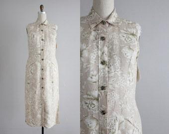 floral linen maxi dress | 90s linen dress