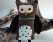 Owl Ornament, Wool Owl Ornament with wings, Owl with wings, Brown owl ornament, blue stars Christmas owl ornament