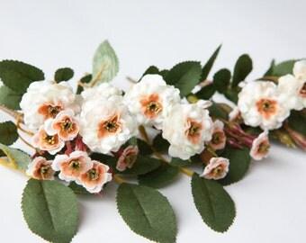 Primroses - 23 Artificial Pompon Roses in Cream and Peach - Silk Flowers, Artificial Flowers, Pompom Roses - ITEM 054